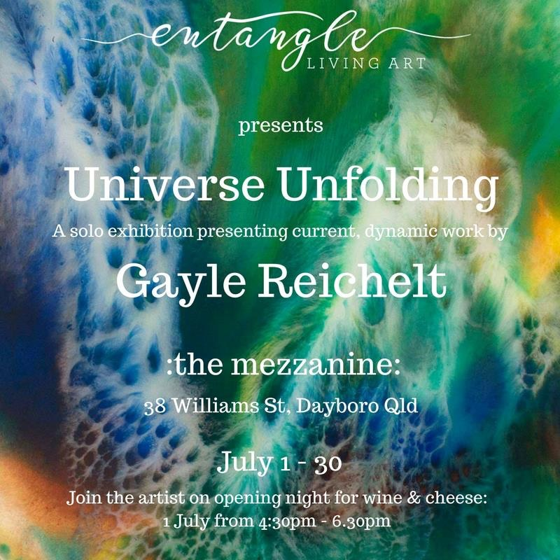 Advertisement for solo exhibition by Gayle Reichelt titled Universe Unfolding